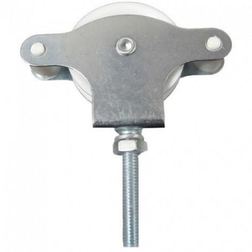 Polea de Tendedero metal Zincado 40 mm. Roldana Plástico con Tornillo y rosca