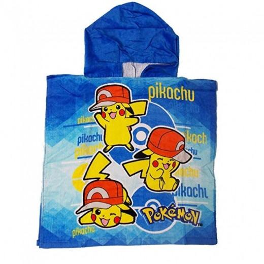 poncho de Pikachu Pokemon 100x50cm con gorro secado rapido con gorro azul