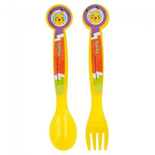 set 2 de cubiertos Pokemon Pikachu tenedor y cuchara plastico niños