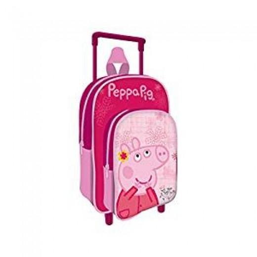 Mochila de Peppa pig con carro pequeña 36 cm para colegio y guarderia rosa