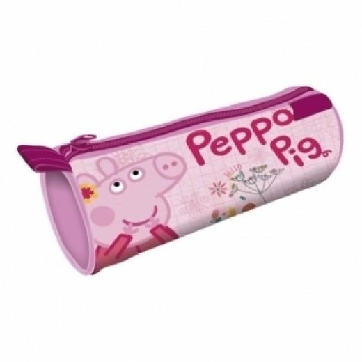Estuche portatodo lapicero cilindrico de peppa pig rosa con cremallera