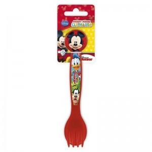 set 2 de cubiertos Mickey Mouse donald tenedor y cuchara plastico niños Rojo