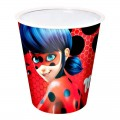 Pack 10 vasos de ladybug rojos de cartón biodegradables 250cc cumpleaños