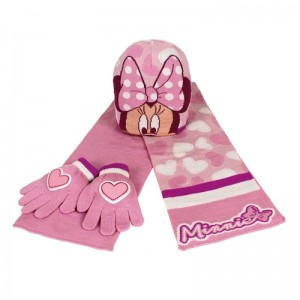 Guantes gorro y bufanda Rosa de Minnie Mouse Invierno Polar mini