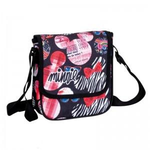 Bandolera de Minnie Mouse Disney negra y rosa con letras bolso