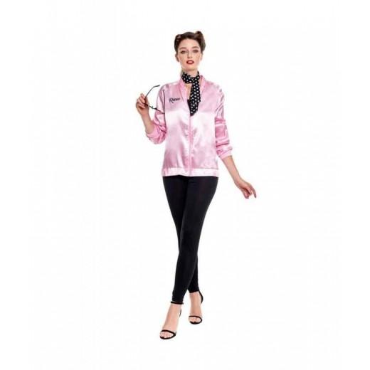 Disfraz de Pink babies de mujer chaqueta rosa baby con pañuelo años 70´s