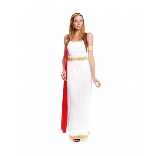 Disfraz de Romana con corona de laurel laureada capa rosa y túnica griega