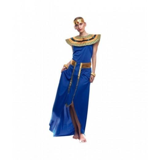 Disfraz de egipcia azul tipo cleopatra faraona para carnaval vestido largo
