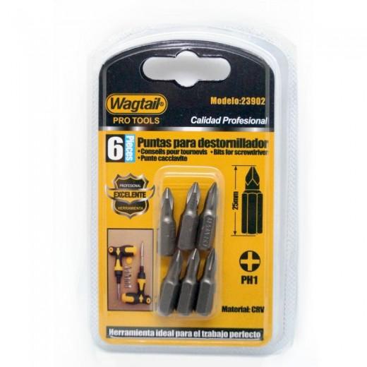 6 Puntas para destornillador de estrella PH1 profesional para atornillador corta