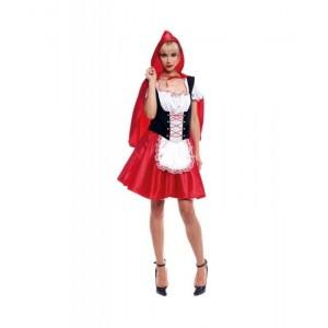 Disfraz de caperucita roja con capa para carnaval vestido falda corta sexy