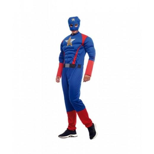 Disfraz de super heroe star tipo capitan america azul