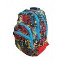 Mochila para colegio marca Munich Street con graffitis Azul y Roja 44x31