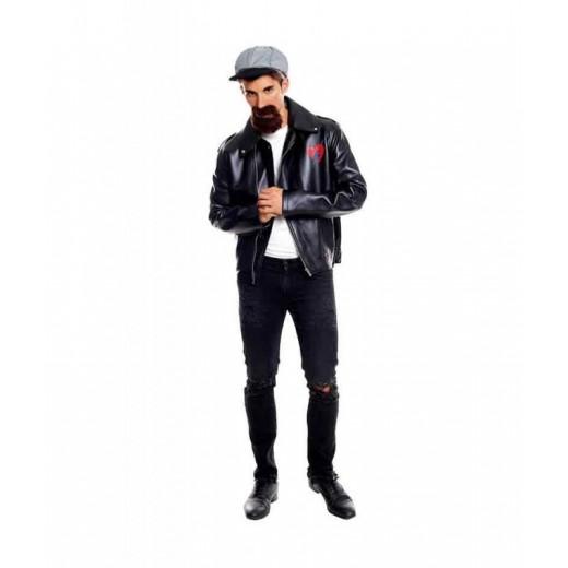 Disfraz de motero chupa y gorra años 50 traje chaqueta tipo cuero negra
