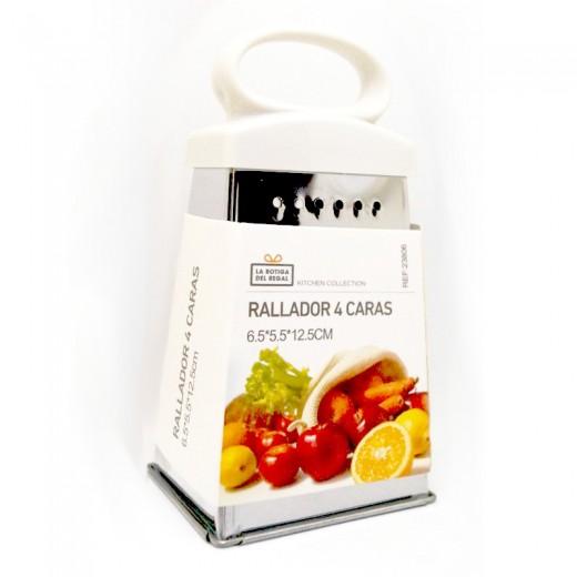 rallador 4 caras pequeño de cocina con diferentes tamaños y asa para coger