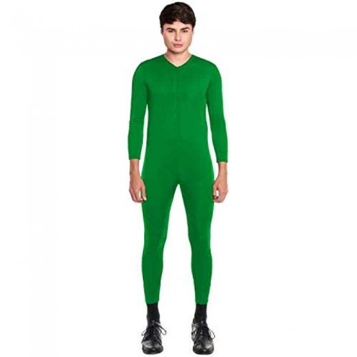 Mono ajustado Maillot disfraz de color Verde Adulto Hombre Unisex