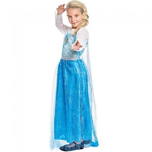 Disfraz de princesa de hielo azul tipo Elsa de Frozen con capa