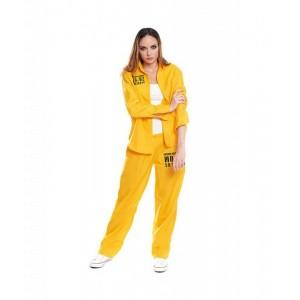 Disfraz de Presidiaria Uniforme Amarillo Mujer traje carcel tipo vis a vis