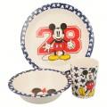 Set de bambu ecologico plato cuenco y vaso de Mickey Mouse 28 vajilla infantil
