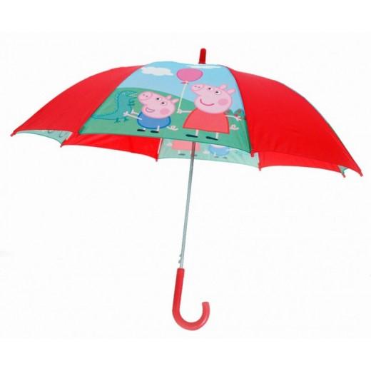 Paraguas de Peppa Pig y george rojo y azul automatico dibujos cerdita infantil