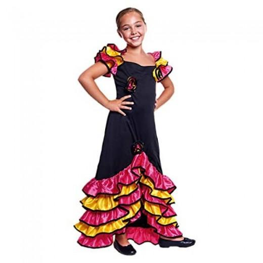 Disfraz de Rumbera infantil para niña bailarina con volantes baile rumba