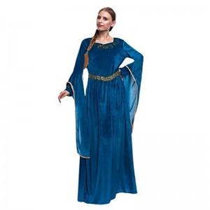 Disfraz de Princesa vikinga medieval color azul tipo terciopelo adulto mujer