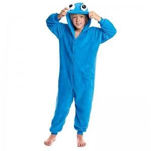 Mono Pijama de Monstruo azul come galletas infantil con ojos manta disfraz