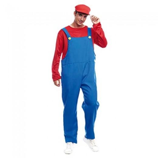 Disfraz de Fontanero rojo tipo Mario Bross con gorra y tirantes videojuego
