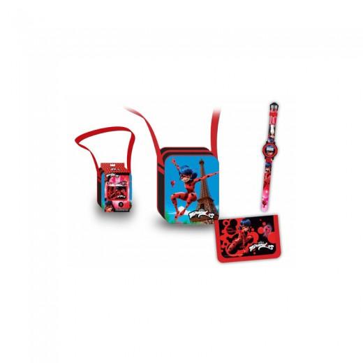 Set de BOLSO BILLETERO y RELOJ LADYBUG 3 accesorios miraculous mariquita dibujos