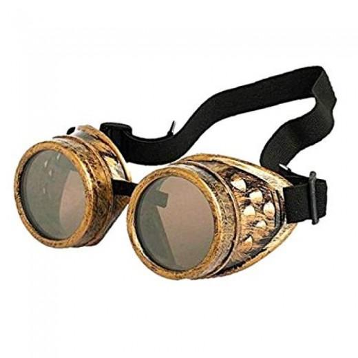 Gafas Steampunk punky disfraz de color bronce con goma ajustable Disfraz