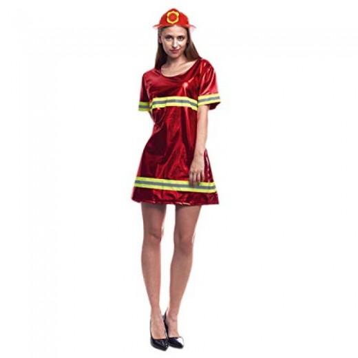 disfraz de Bombera rojo para mujer traje de bombero vestido Carnaval