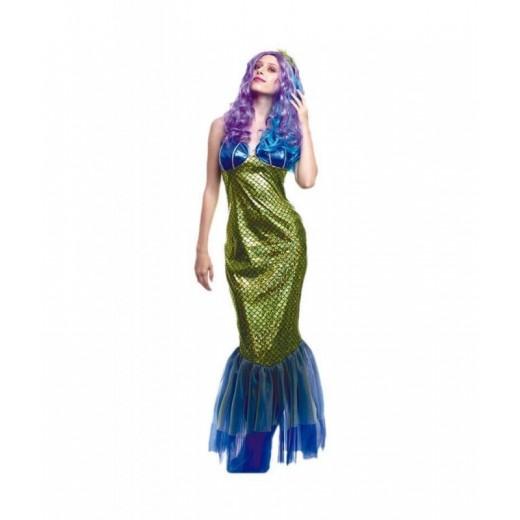 Disfraz de Sirena Verde cola de sirena vestido completo