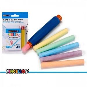 Tizas de colores para pizarra y porta tizas portatizas sujeta tizas con 12 tizas