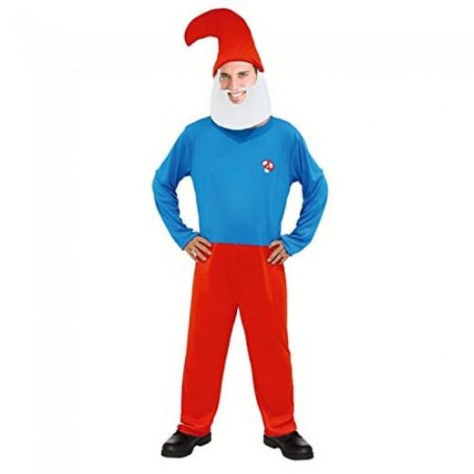 Disfraz de papa duende nomo azul y rojo tipo pitufo gnomo Carnaval