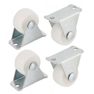 Pack de 4 ruedas pequeñas para muebles duras giratorias fijas 30mm