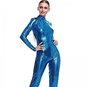 Mono ajustado Maillot de color Azul Mujer efecto pez sirena disfraz elástico