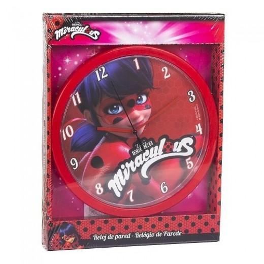 Reloj de pared de Laydbug para habitación redondo analogico miraculous rojo