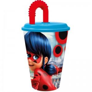 Vaso con caña y tapadera de Ladybug miraculous azul y rojo 430 ml pajita