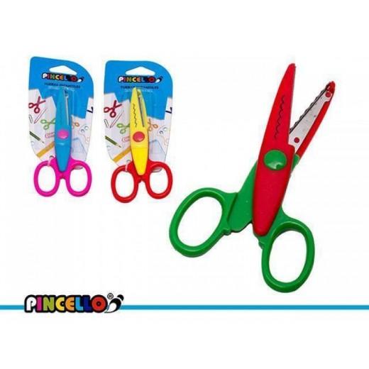Tijera infantil de colores con zigzag para bordes con formas tijeras infantiles