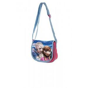 Bolso Bandolera de Frozen Elsa y Anna azul y morado con cinta
