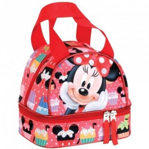 Portamerienda bolsa para almuerzo de Minnie Mouse con asas roja