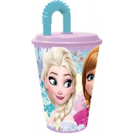 Vaso con caña y tapadera de Frozen Elsa y Anna 430 ml con pajita