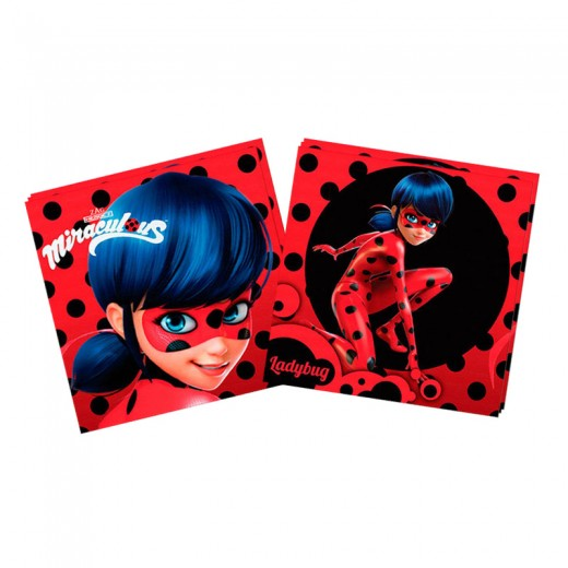 20 Servilletas de Ladybug de 33 cm para fiestas de papel rojas cumpleaños