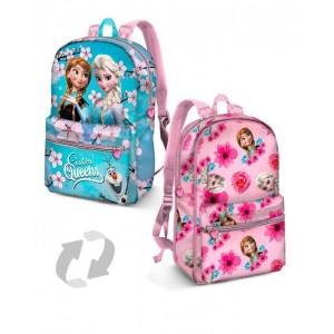 MOCHILA de Frozen reversible Elsa y Anna para colegio Azul y rosa 31 cm