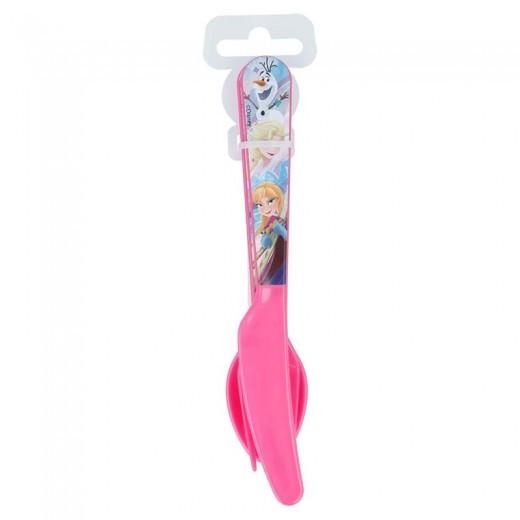 set de 3 cubiertos de Frozen cuchara cuhillo y tenedor Elsa y Anna olaf