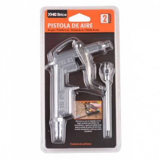 Pistola de aire comprimido con 2 cabezales profesional con palanca