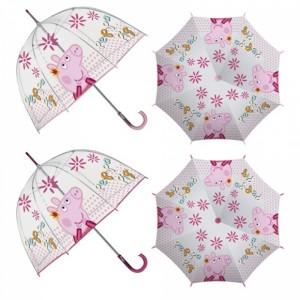 Paraguas de Peppa Pig transparente con mago de color rosa 48 cm