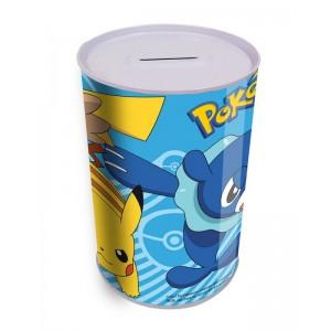 Hucha de Pokemon cilíndrica dibujos de pikachu 10x15cm azul y blanca