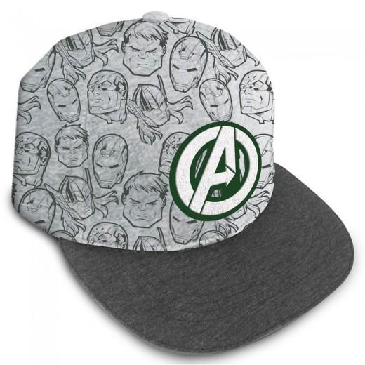 Gorra Hip Hop con visera de los Vengadores con logo Bordado Avengers gris