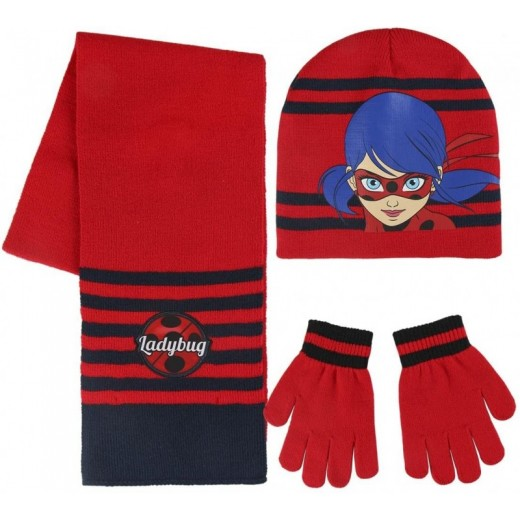 Set conjunto de invierno de Ladybug gorro bufanda y guantes