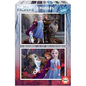 Puzzle doble de Frozen II de Anna y elsa 2 puzzles de 100 piezas olaf
